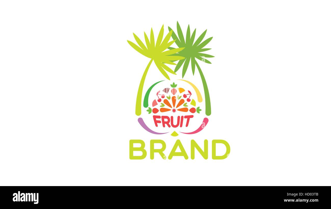 Exotische Früchte-Vektor-Logo-Design-Vorlage Vektor Abbildung - Bild ...