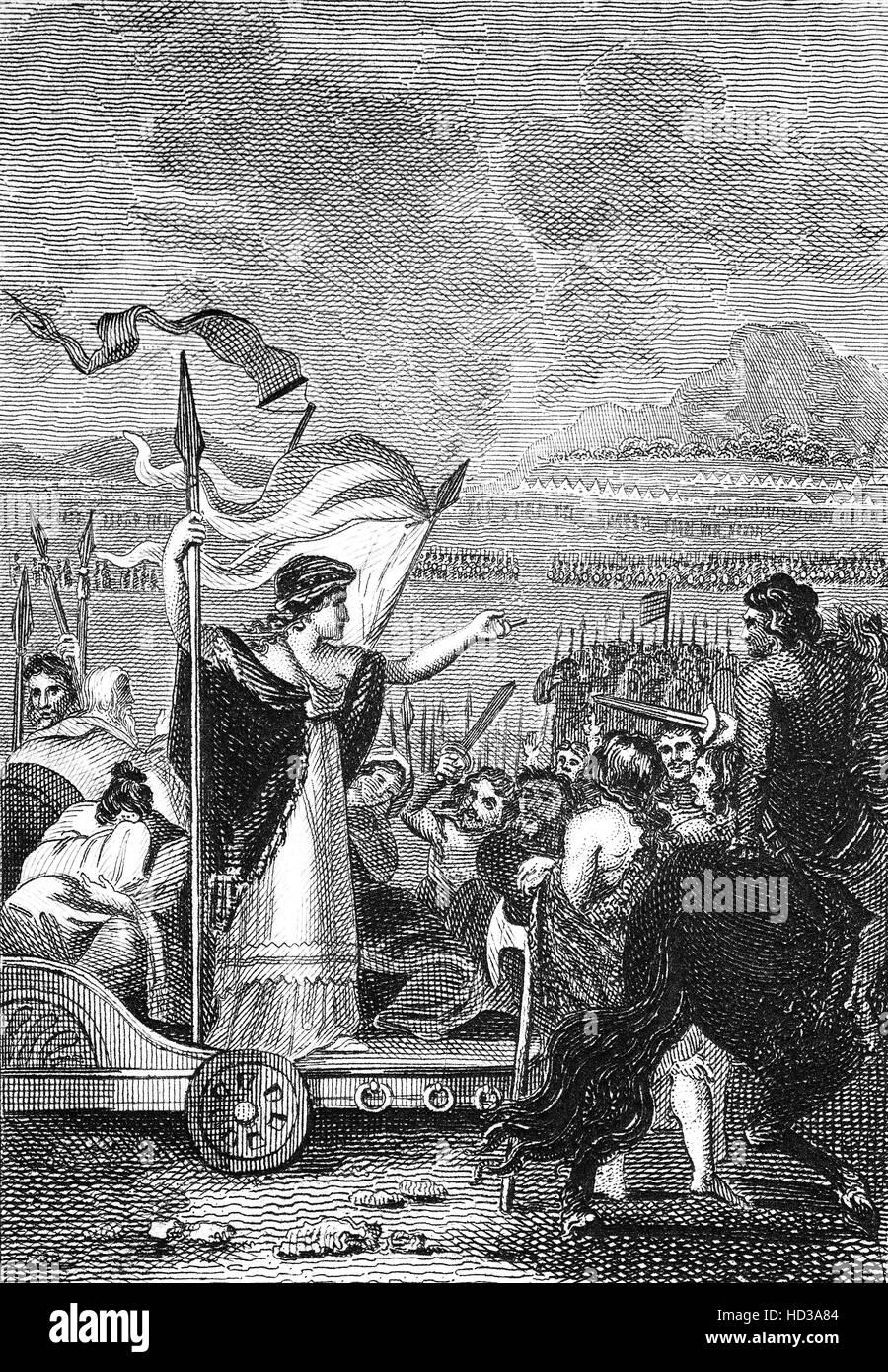 Boudicca, aka Boudicea, Königin des Stammes britischen keltischen Icener, mit ihren Truppen vor einem Aufstand Stockbild