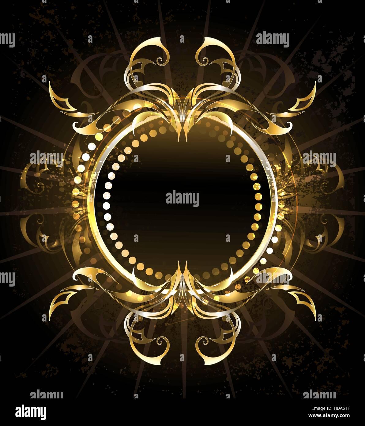 Runde Goldrahmen auf schwarzem Hintergrund Vektor Abbildung - Bild ...