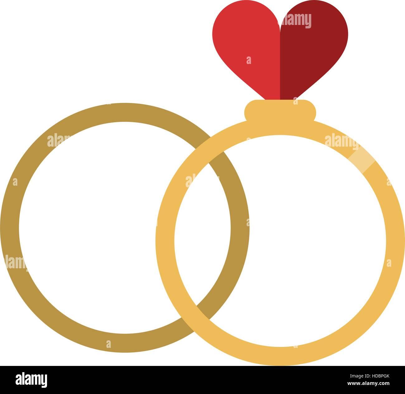Zwei Ringe Romantik Liebe Hochzeit Herzsymbol Vektor Abbildung