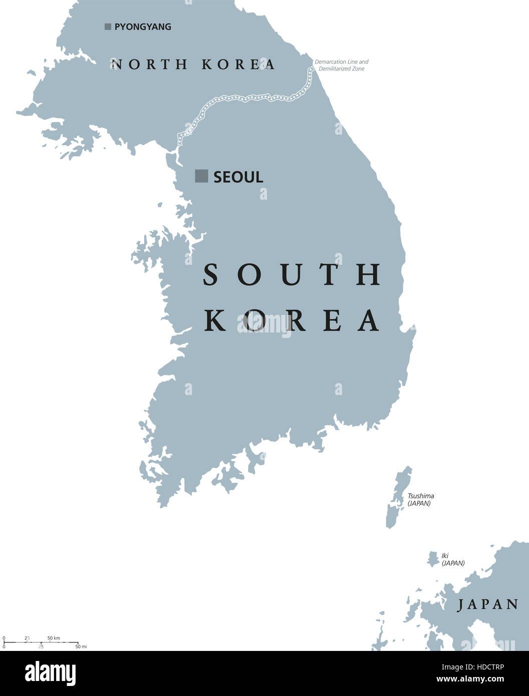 Stumme Karte Asien Lander Hauptstadte.Politische Landkarte Sudkorea Mit Der Hauptstadt Seoul Und