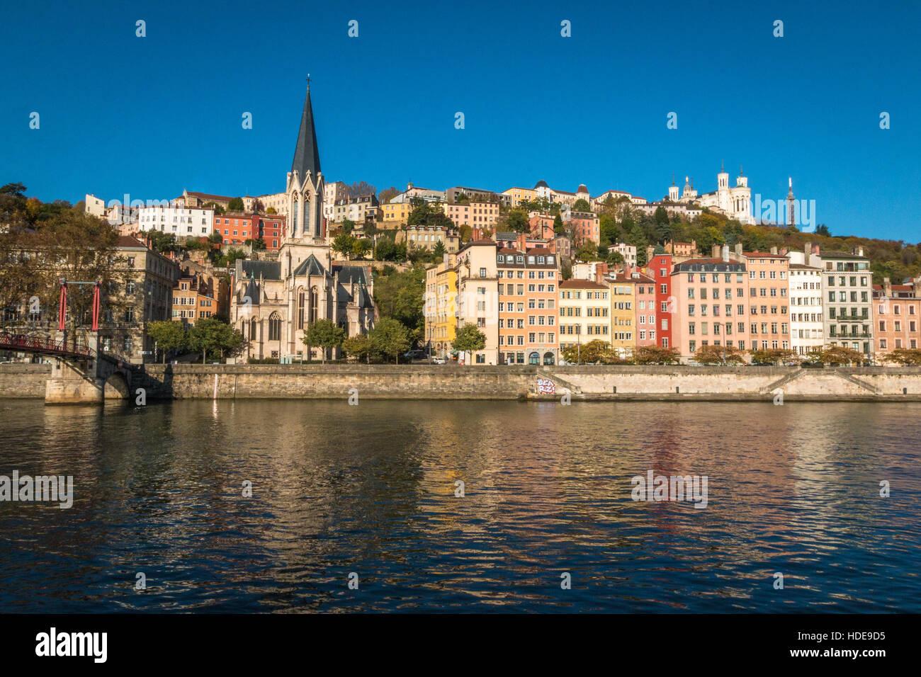 Blick auf die Altstadt Bezirk von Lyon in Frankreich Stockbild