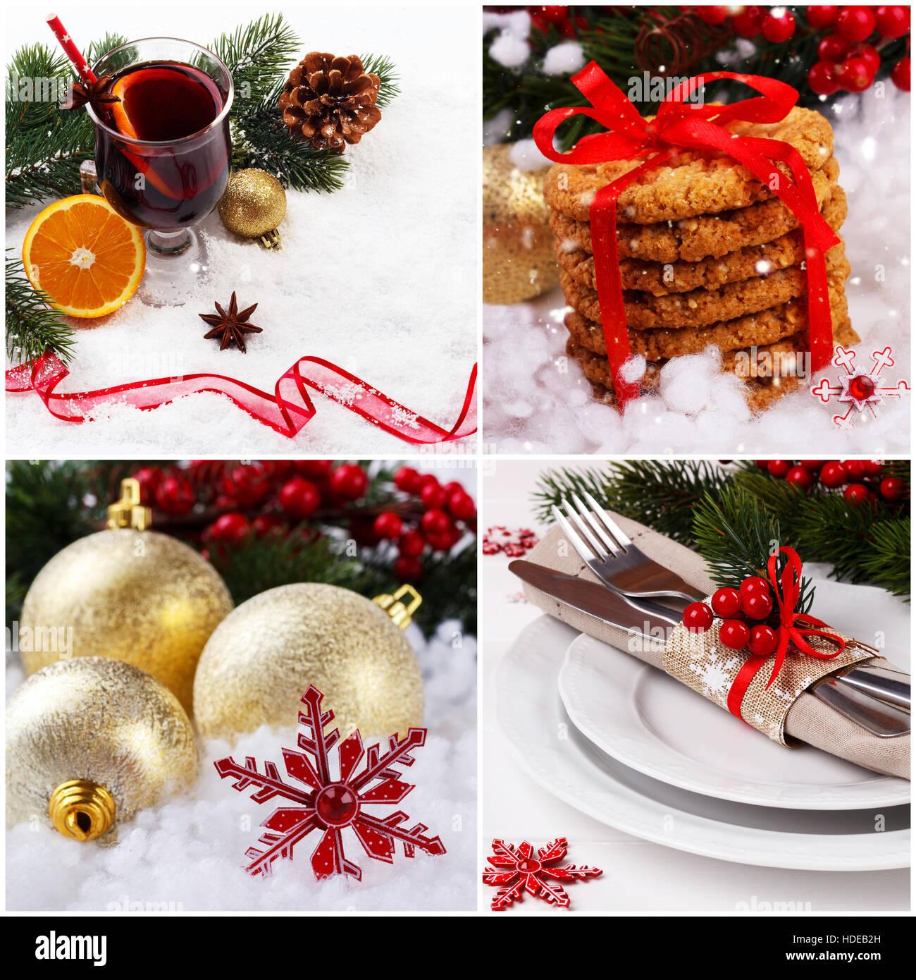 collage aus weihnachtsbilder und dekorationen auf wei em. Black Bedroom Furniture Sets. Home Design Ideas