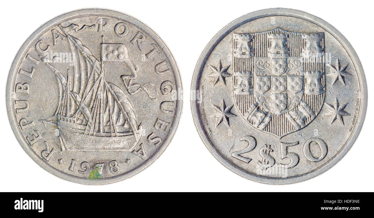 Kupfer Nickel 25 Escudos 1978 Münze Isoliert Auf Weißem Hintergrund