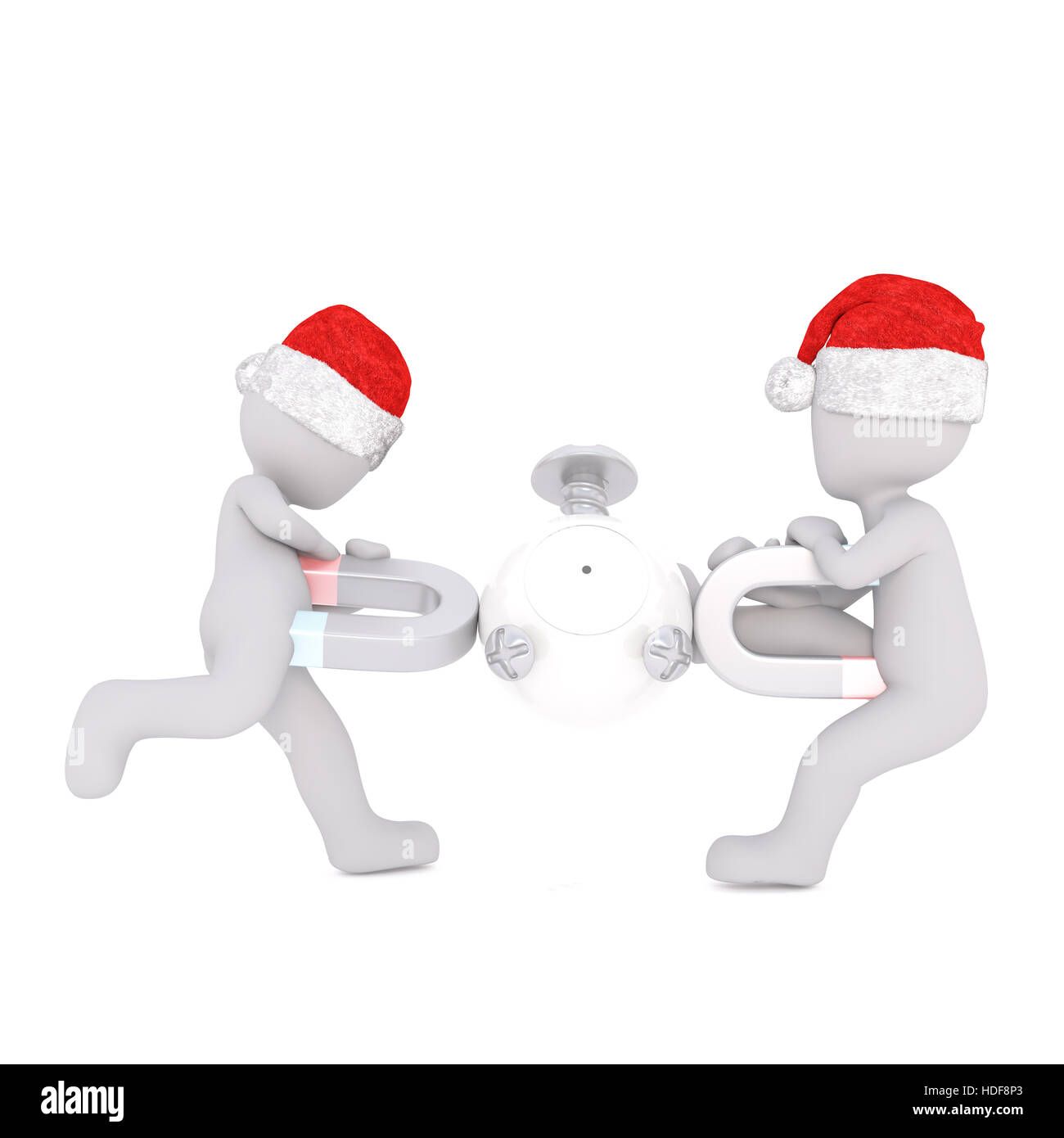 3D Toons in Santa Hüte spielen mit Kugel und Hufeisen-Magneten auf weiß Stockbild