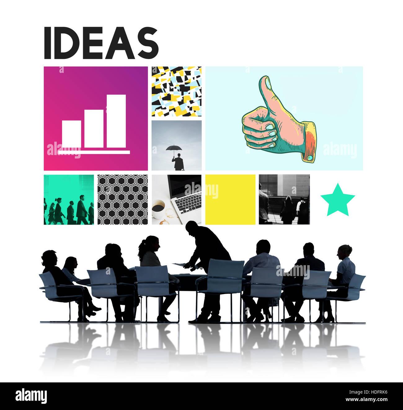 Ideen-Schläge Mission Strategie Konzept Stockbild