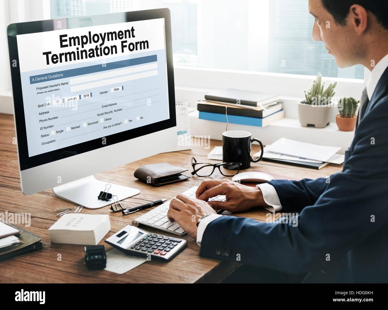 Beschäftigung Kündigung Formular Dokument Konzept Stockfoto Bild