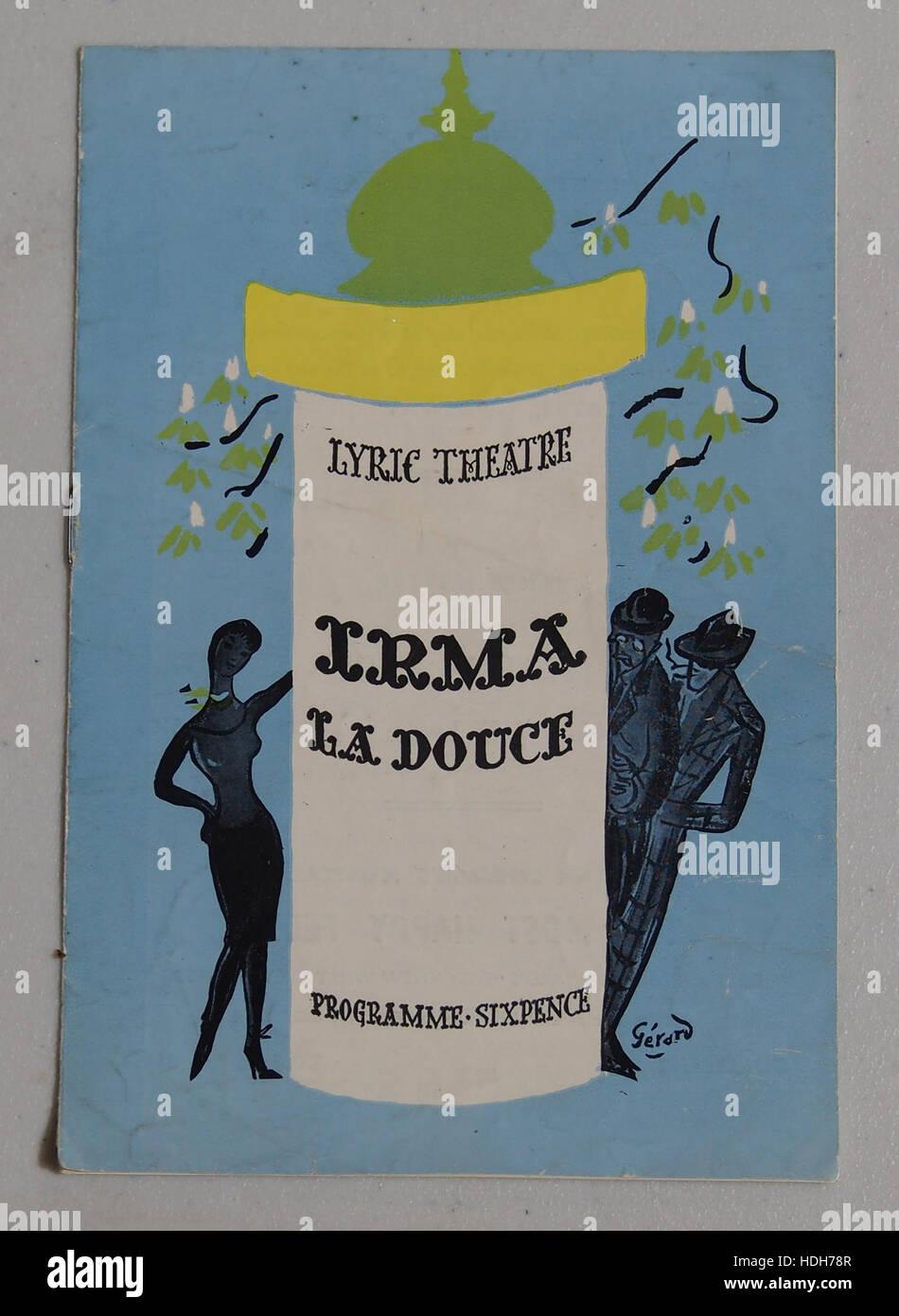 Irma La Douce programma boekje Stockbild