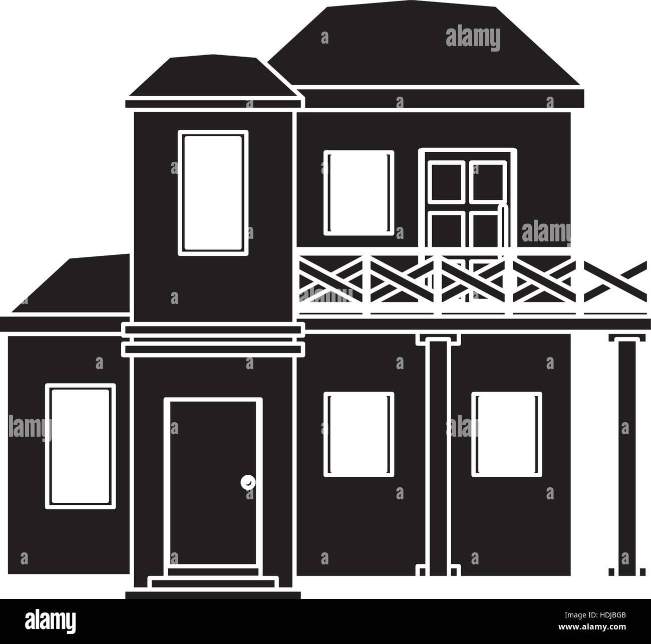 Piktogramm Haus Mit Balkon Dach Vektor Abbildung Bild 128867323