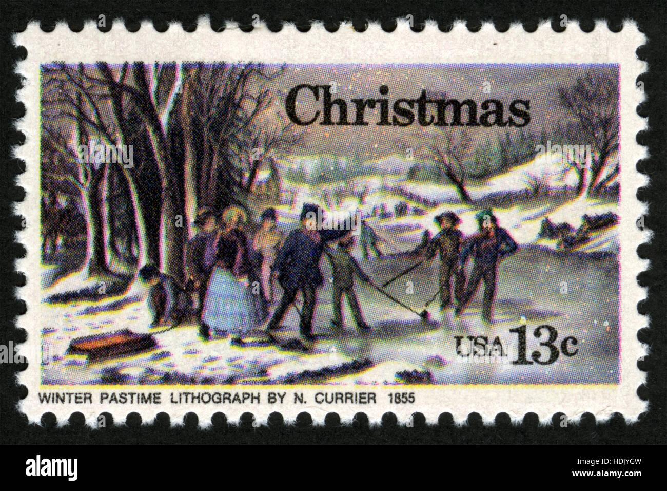 Usa, ca. 1976, Briefmarke, Weihnachten, Winter Zeitvertreib Lithographie von N. Currier Stockfoto