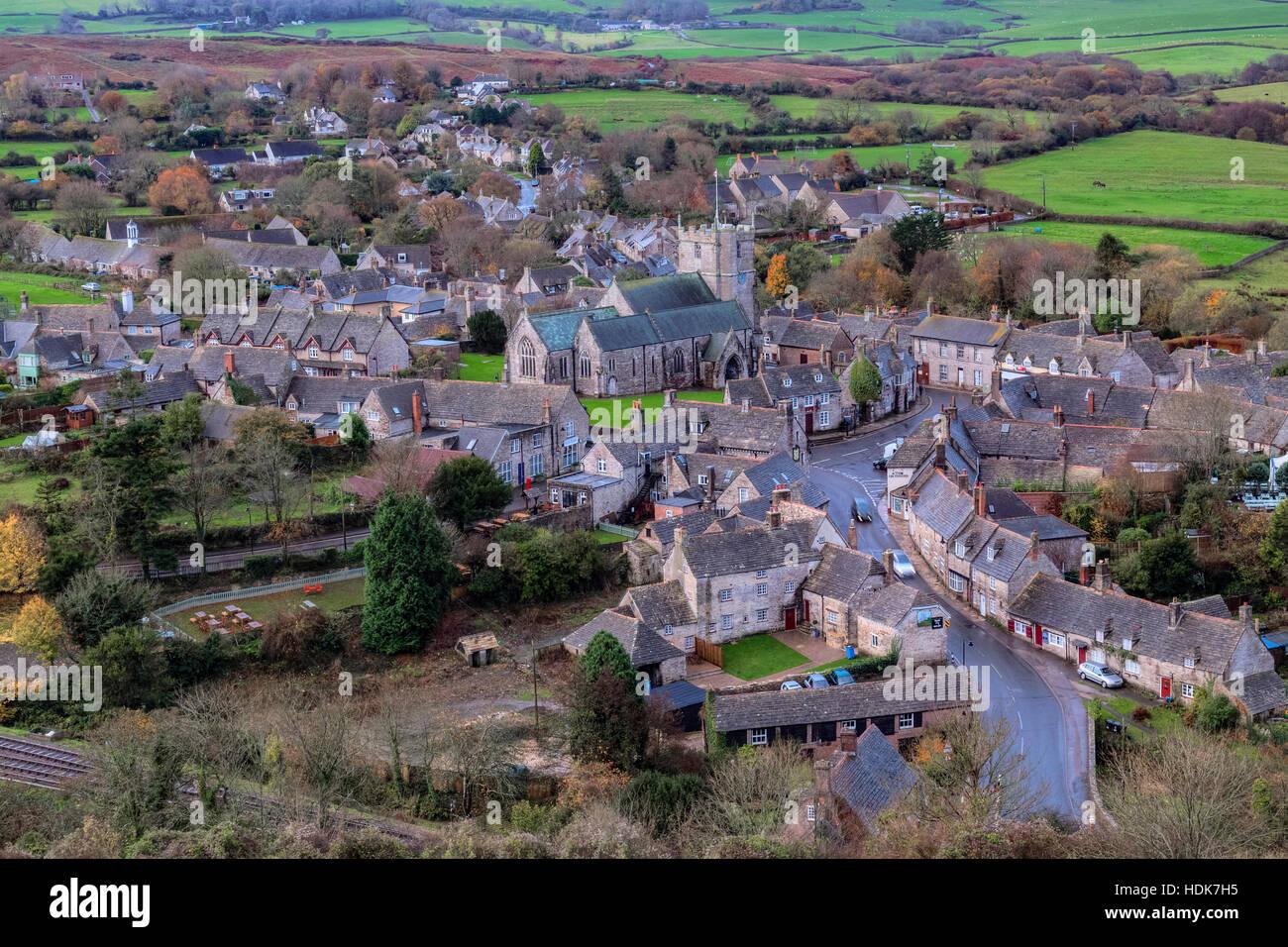 Dorf der Corfe Castle, Dorset, England, UK Stockbild