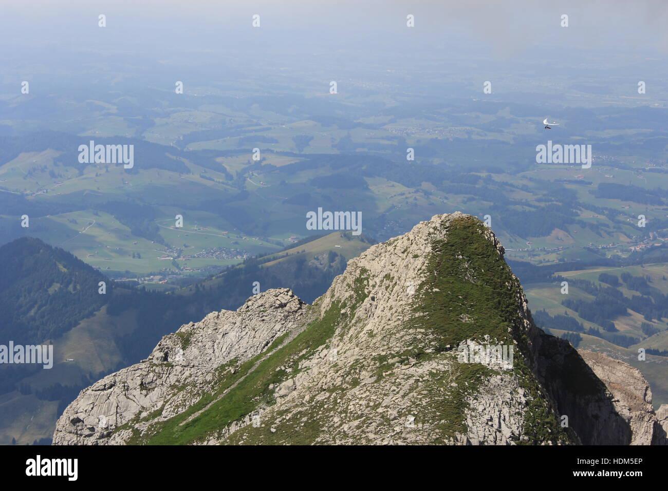 Ein Höhepunkt in der Nähe von Säntis in den Schweizer Alpen Stockbild