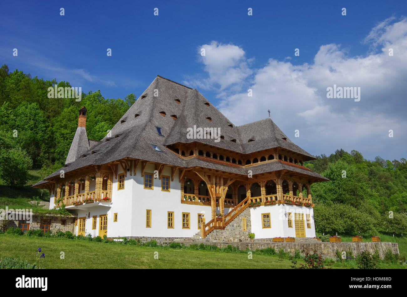 Europe Romania Maramures Wooden Church Stockfotos Europe Romania Maramures Wooden Church