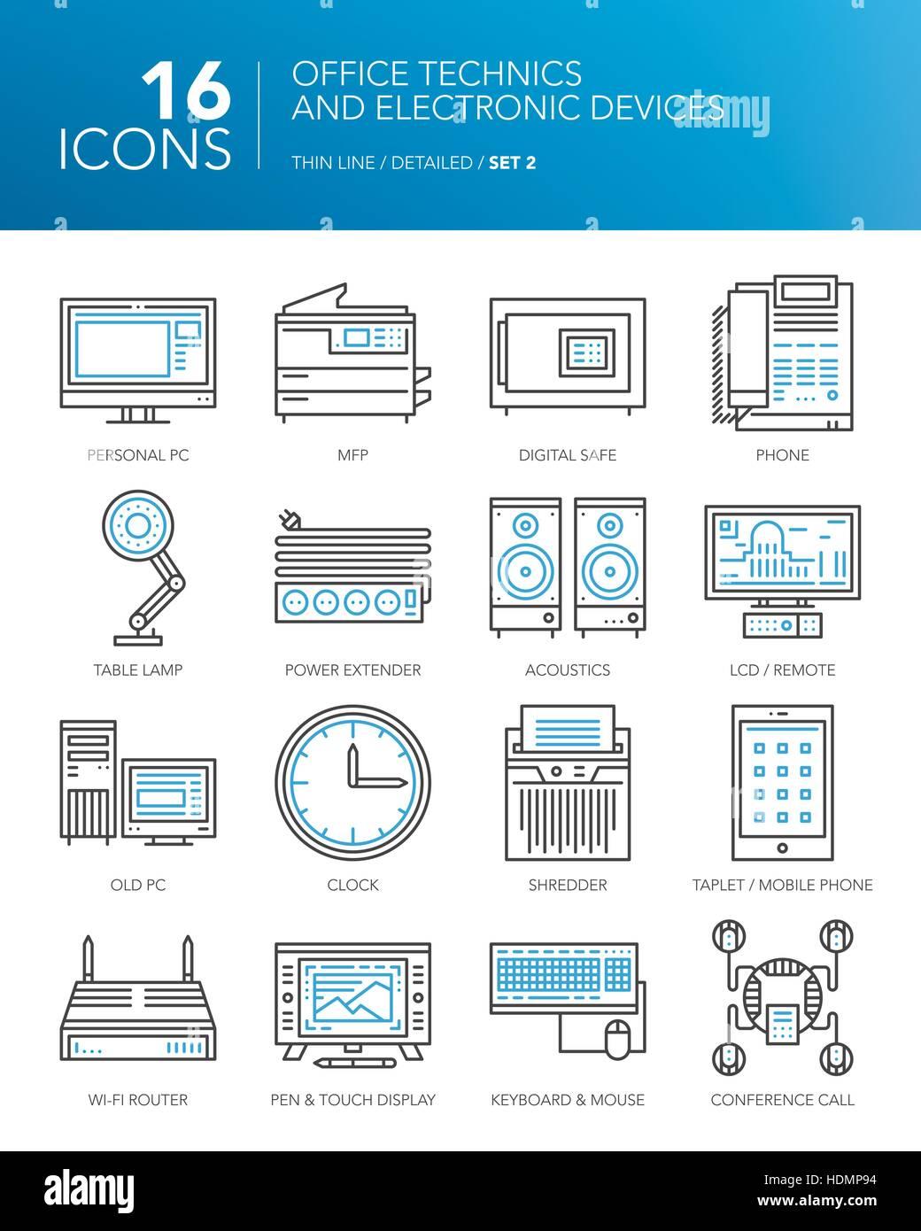 Detaillierten dünne Linie Symbole für Unternehmen. Büro-Technik und ...