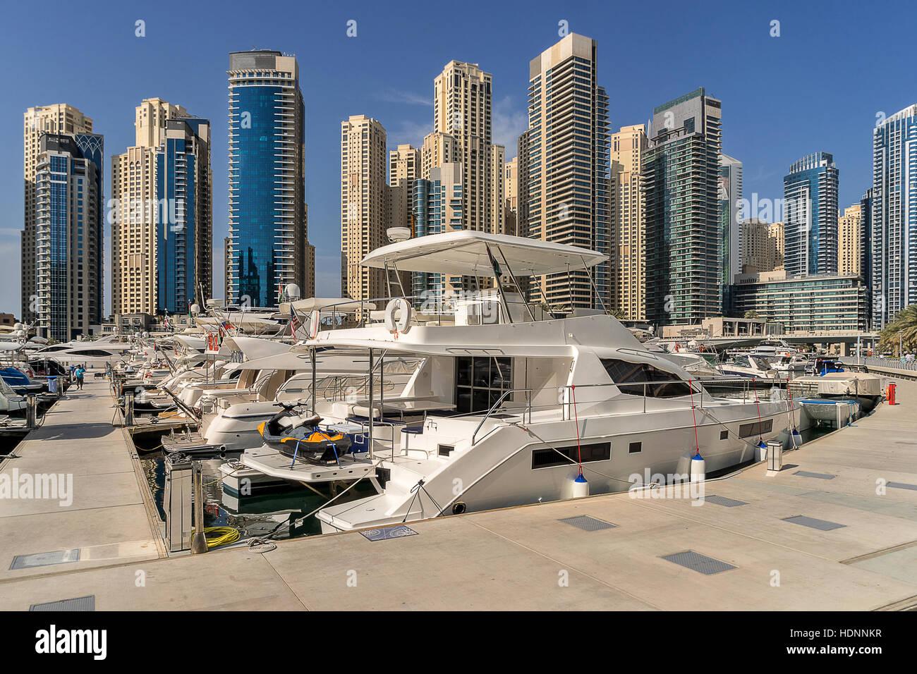 Jachthafen von Dubai in den Vereinigten Arabischen Emiraten Stockbild