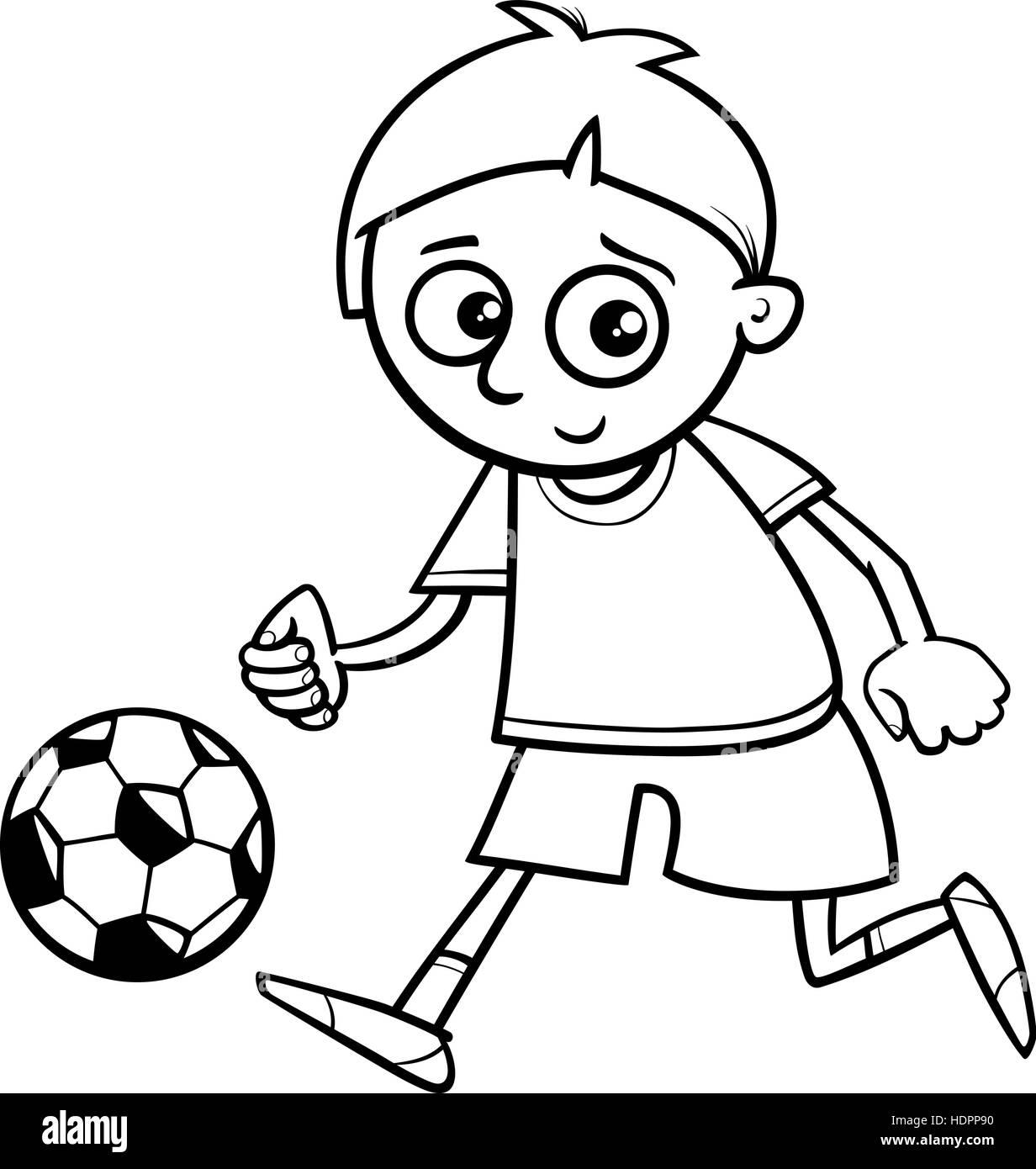 Schwarz / Weiß Cartoon Illustration der jungen spielen Fußball- oder ...