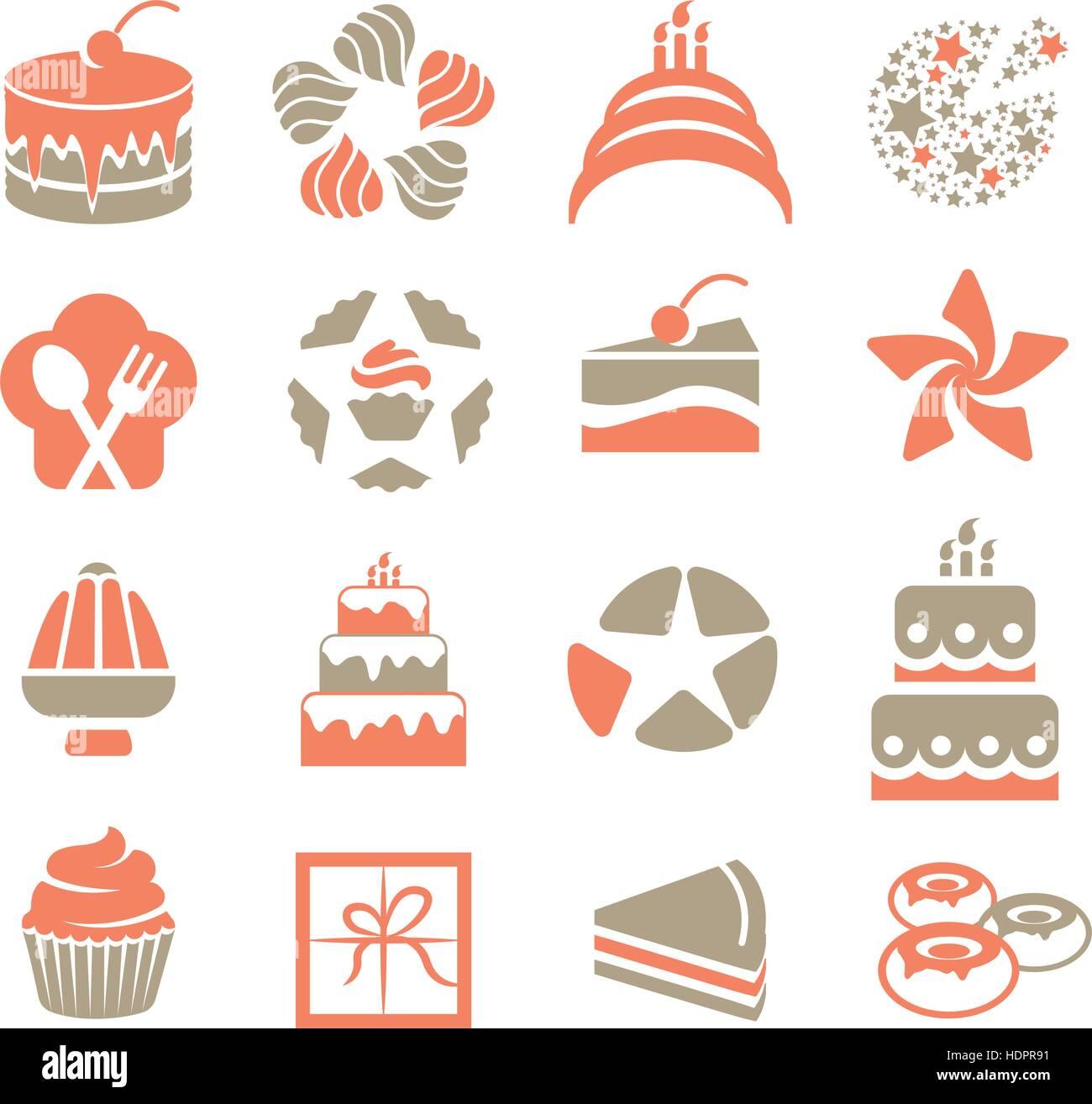 Kuchen Logo Im Vintage Stil Festgelegt. Rosa Und Grauen Farbe Desserts  Logos. Stück Torte Symbol Auf Weißem Hintergrund. Leckeres Gebäck Zeichen  Sammlung.