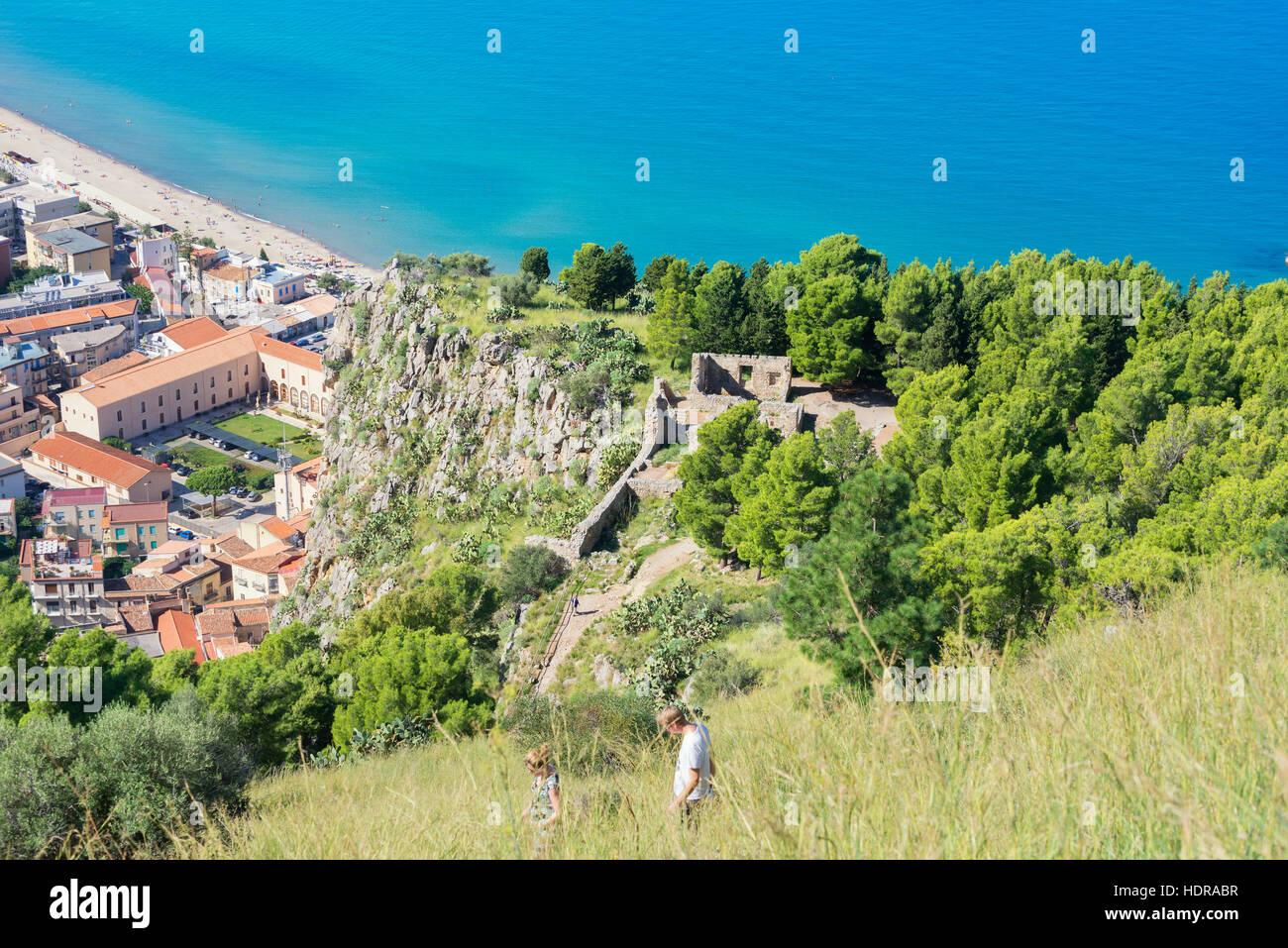 La Rocca, Cefalu, Sizilien, Italien, Europa Stockbild