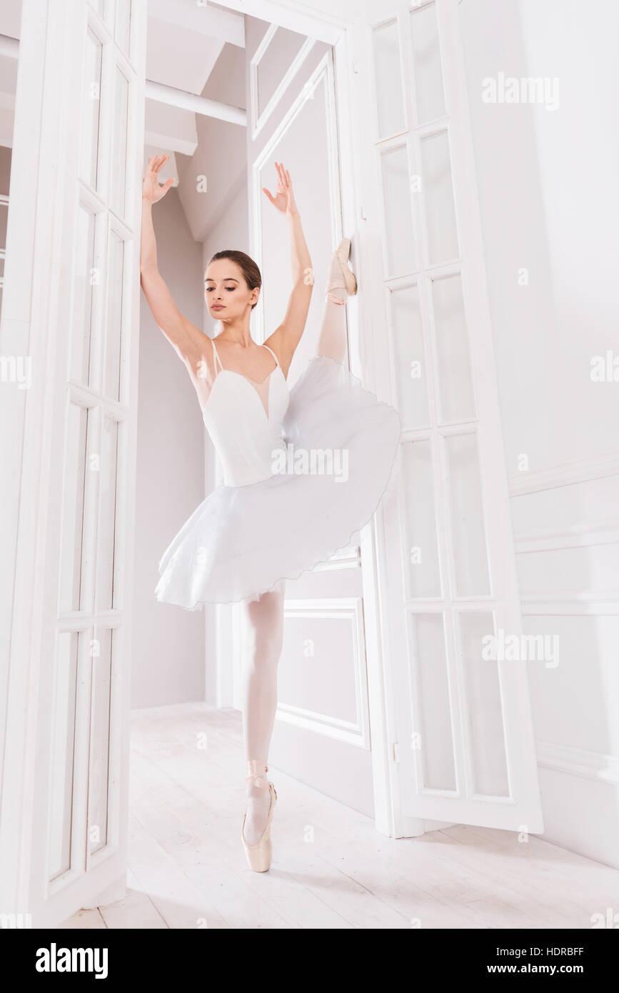 Anmutige Tänzerin auf einem Bein stehend Stockbild