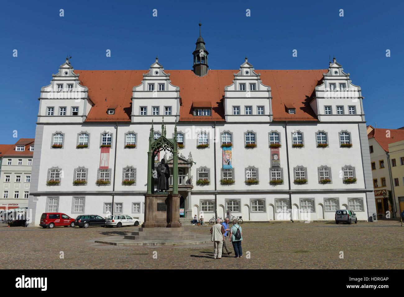 altes rathaus markt lutherstadt wittenberg sachsen anhalt deutschland stockfoto bild. Black Bedroom Furniture Sets. Home Design Ideas