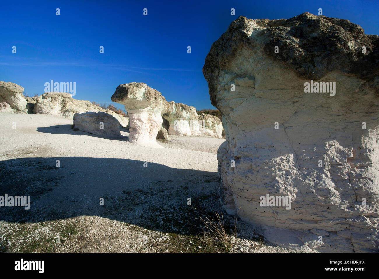 Sandstein-Pilze-Phänomen in der Nähe von Kurdjali, Bulgarien Balkan Rhodopi Gebirge Stockbild