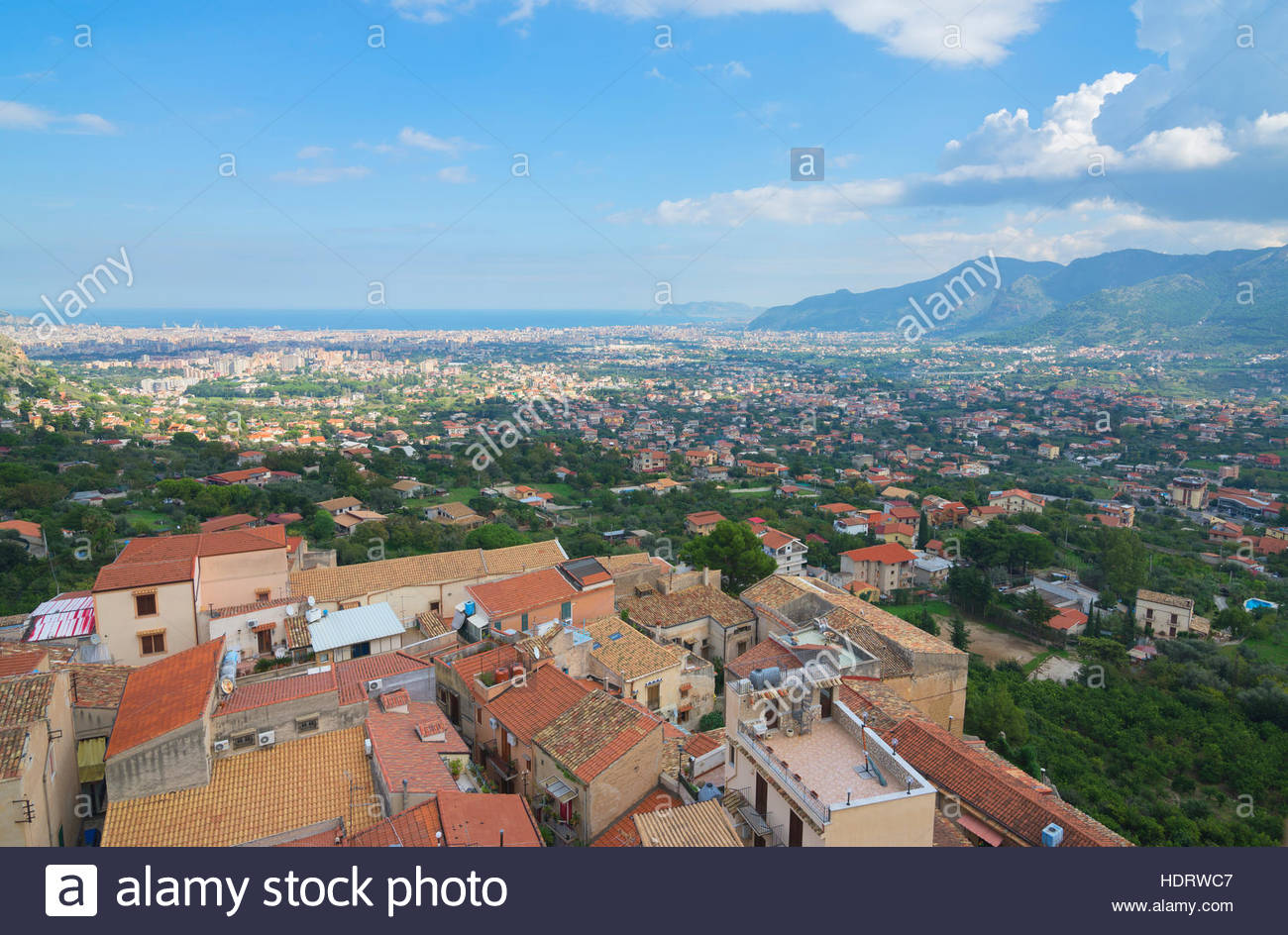 Monreale-Ansicht von Monreale Kathedrale Monreale, Sizilien, Italien Stockbild