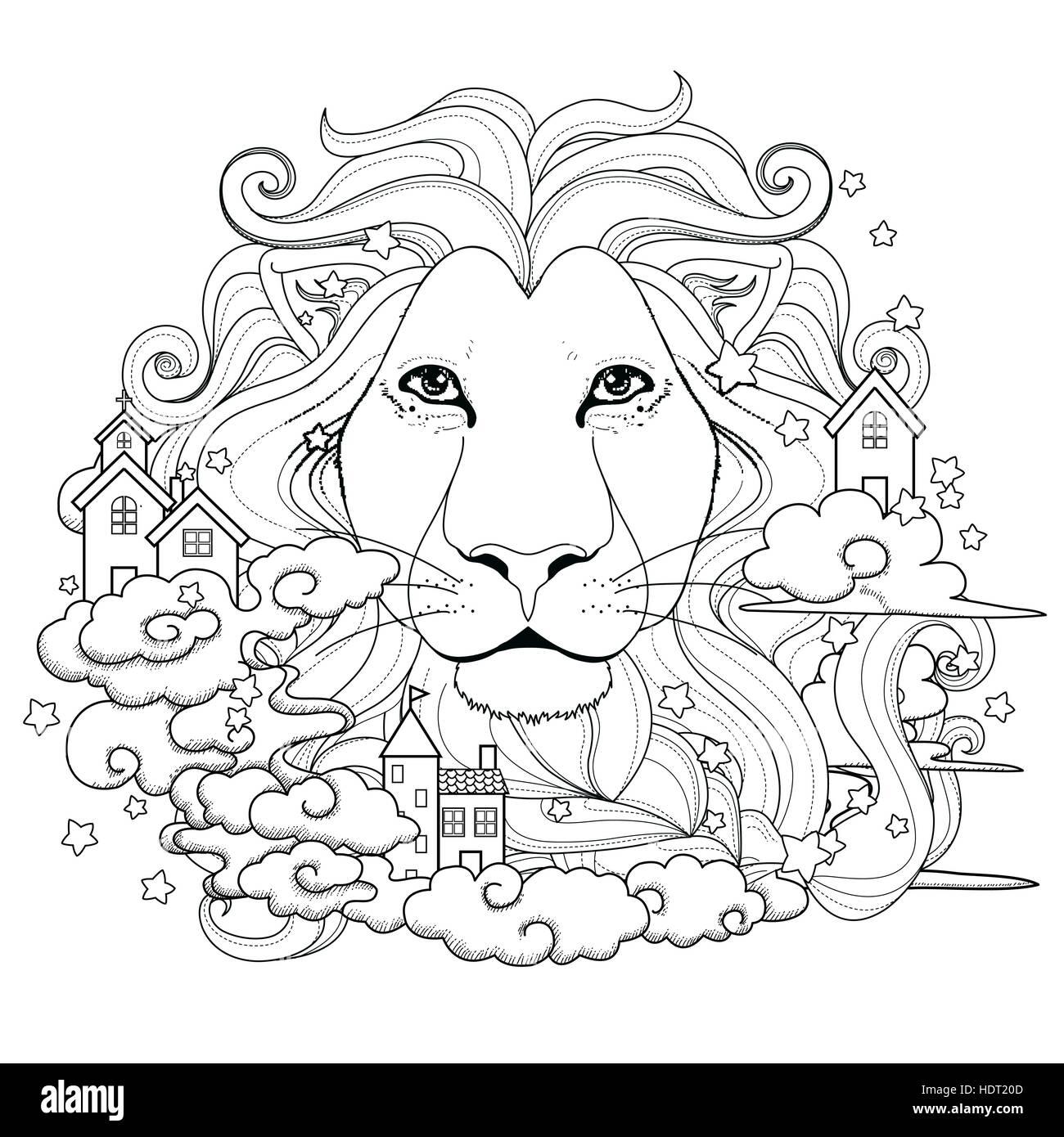 schöne Löwen Malvorlagen in exquisitem Stil Vektor Abbildung - Bild ...