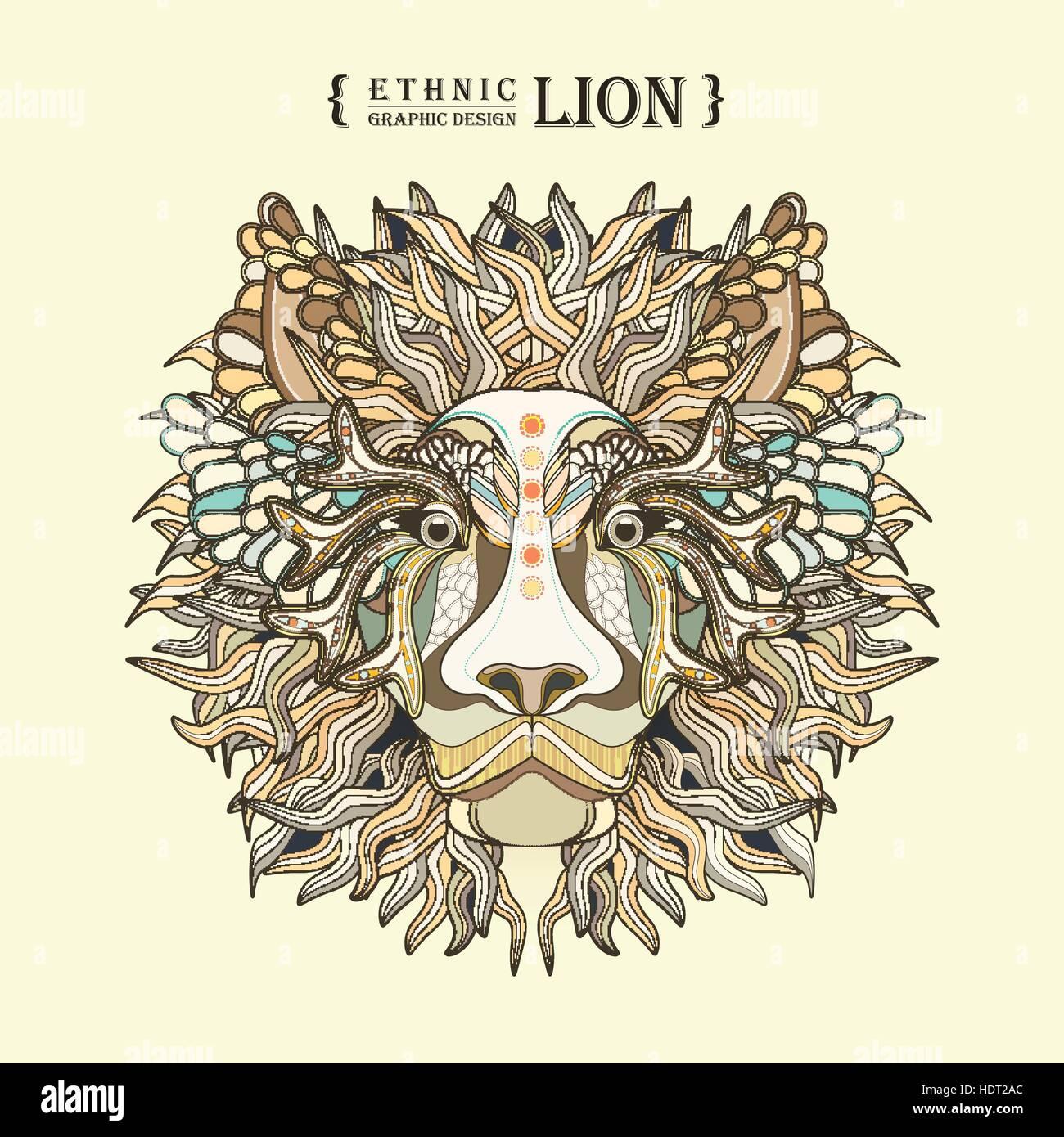 Löwenkopf Malvorlagen In Exquisitem Stil Vektor Abbildung Bild