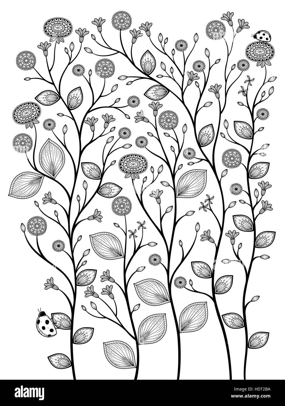 elegante Frühling Pflanzen Malvorlagen in exquisiten Linie Vektor ...