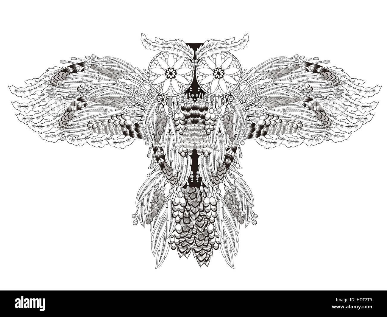 fliegende Eule Malvorlagen mit Traumfänger in exquisiten Linie ...