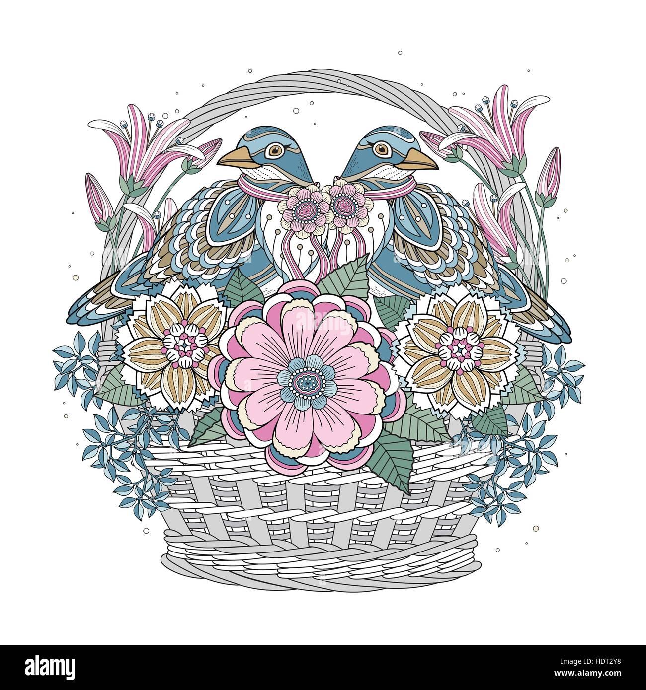 Malvorlagen mit floralen Elementen in exquisiten Linie Vogel Segen ...