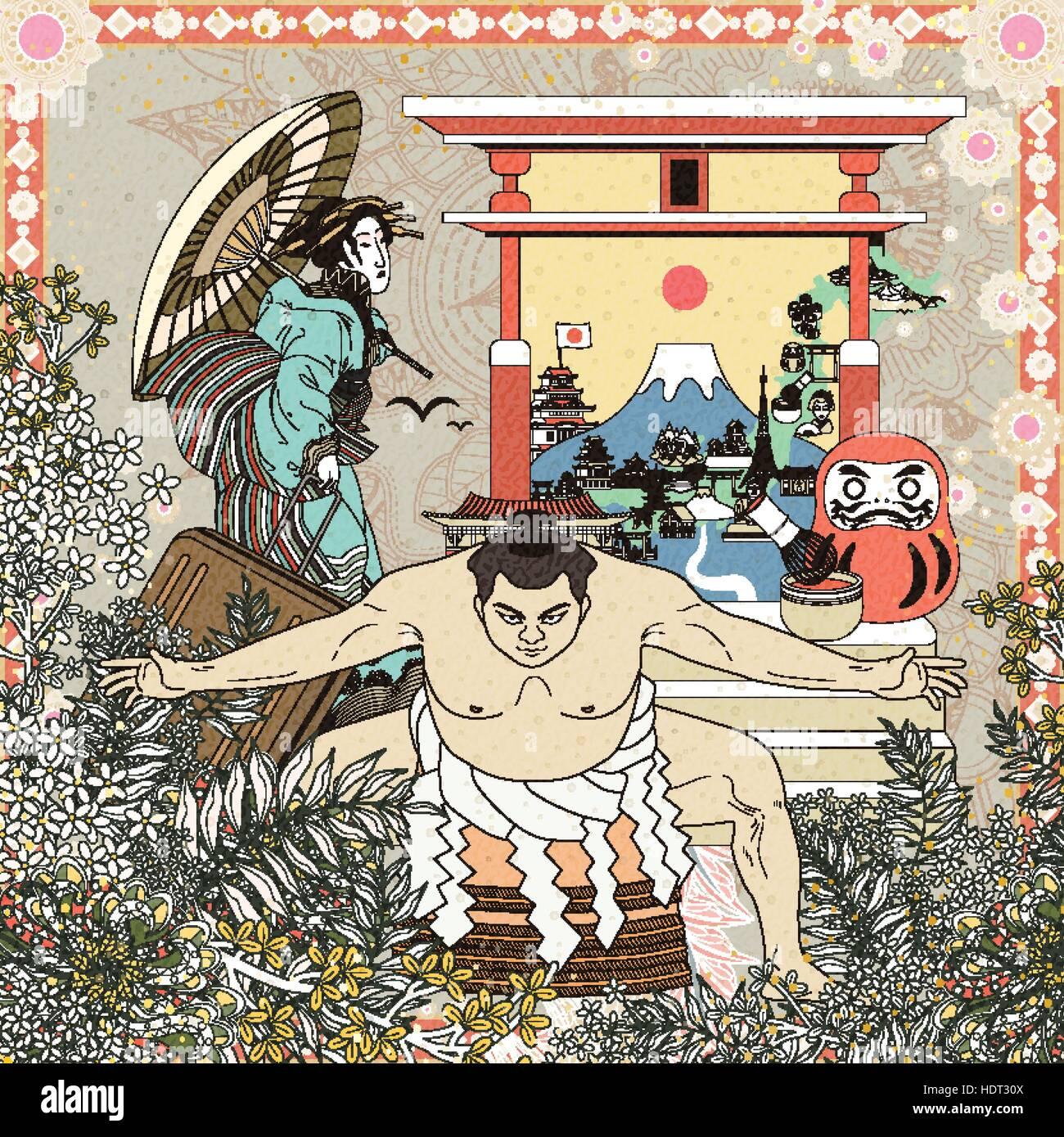traditionelle Japan Konzept Malvorlagen mit floralen Elementen ...