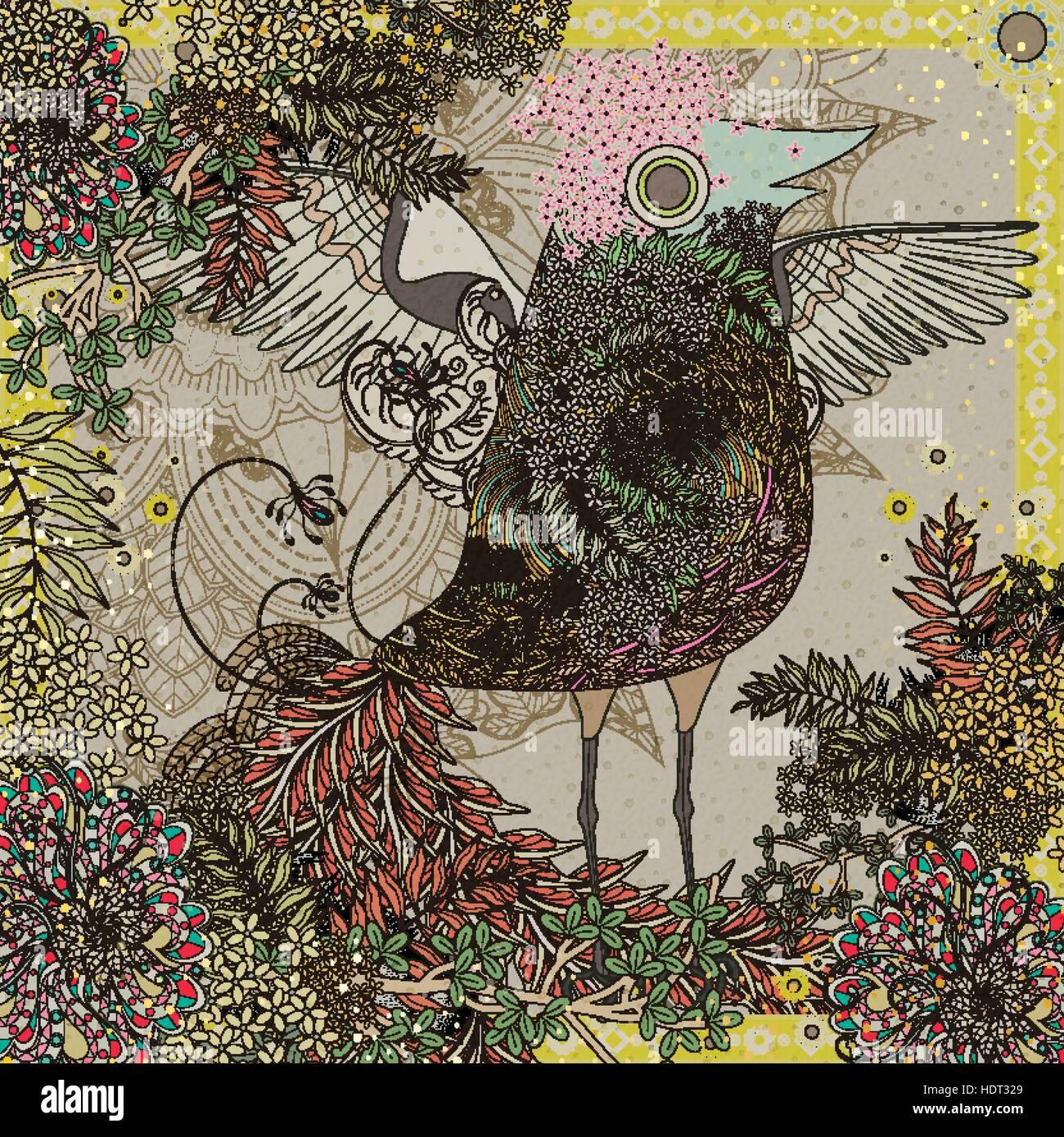 Lustige Vögel Malvorlagen Mit Floralen Elementen Vektor Abbildung