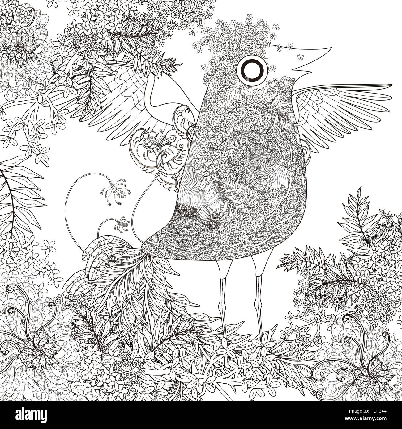 Adult Coloring Page Adorable Bird Stockfotos Adult Coloring Page