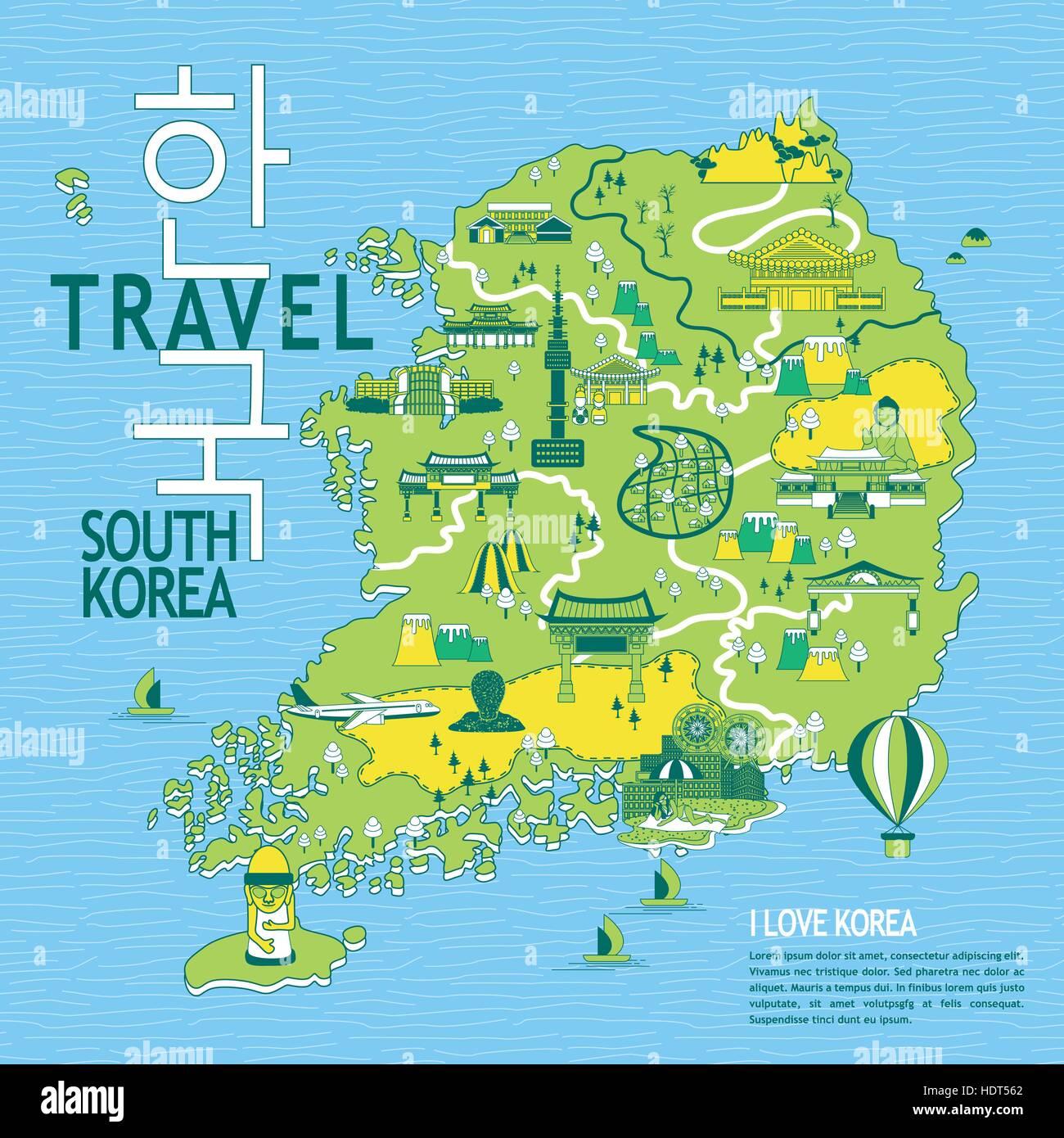 Südkorea Karte.Schöne Südkorea Reise Karte Korea In Koreanische Wörter Auf Oben