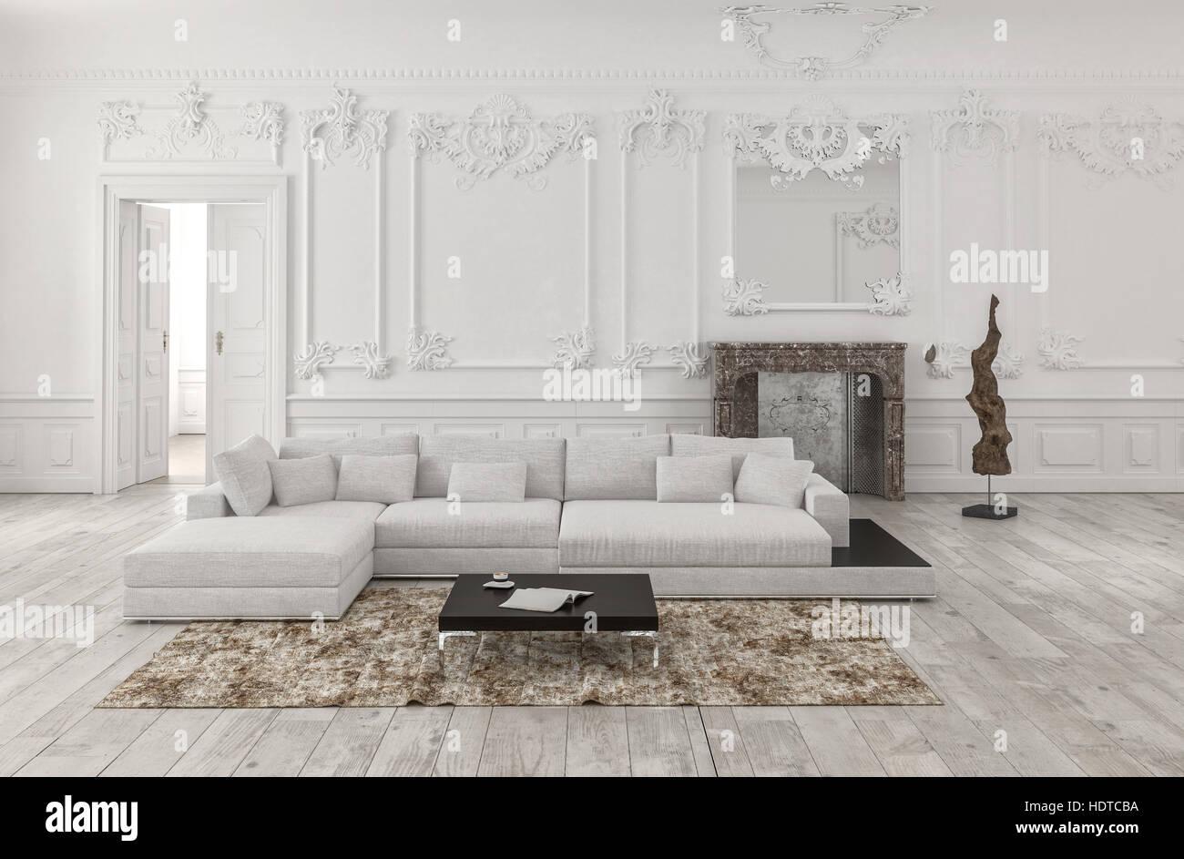 Klassische weiße 3d gerendert monochrome Wohnzimmer Interieur mit ...