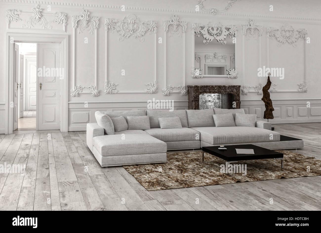 GroB Neutrale Einfarbige Weiße Klassische Wohnzimmer Interieur Mit Täfelung Und  Stuck Zierleisten, Ein Spiegel über Eine Marmor Kamin Und Bequemen Modular