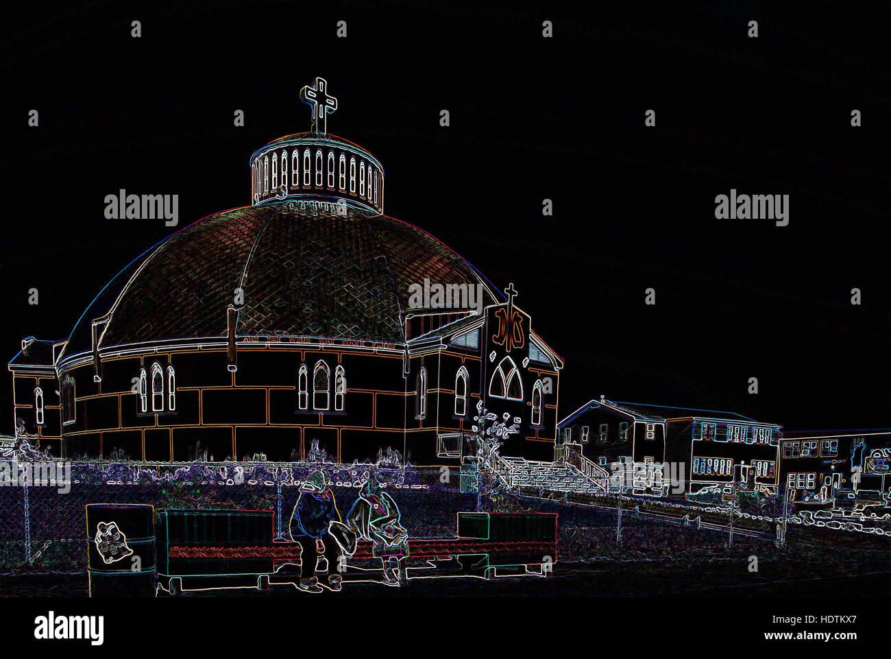 Kirche - digital manipulierte Bild mit leuchtenden Kanten, abstrakte Architektur auf einem schwarzen Hintergrund Stockbild