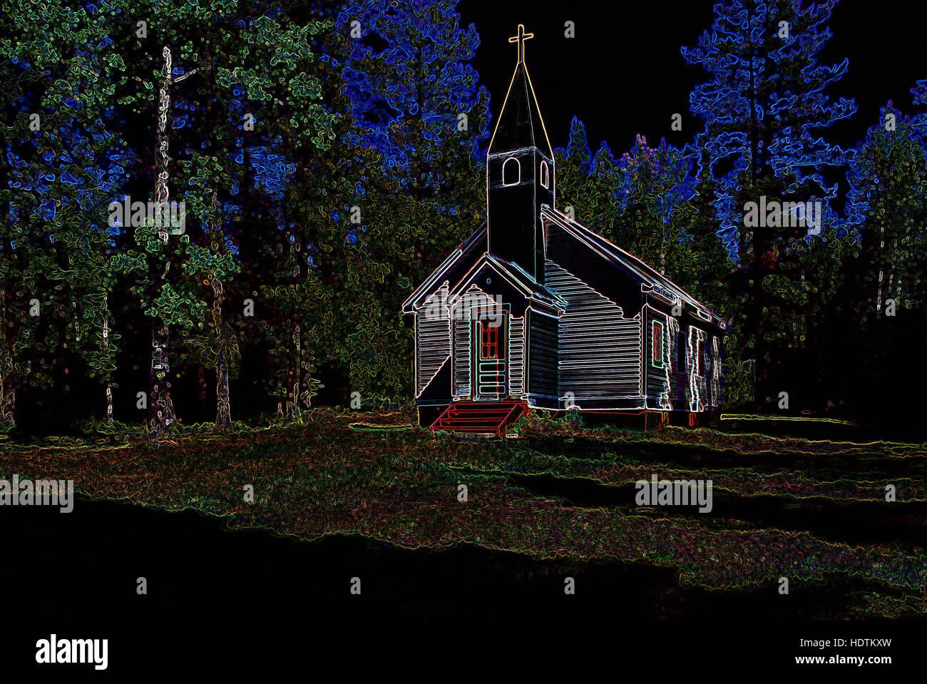 Kleine ländliche Holzkirche - digital manipulierte Bild mit leuchtenden Kanten, abstrakte Architektur Stockbild