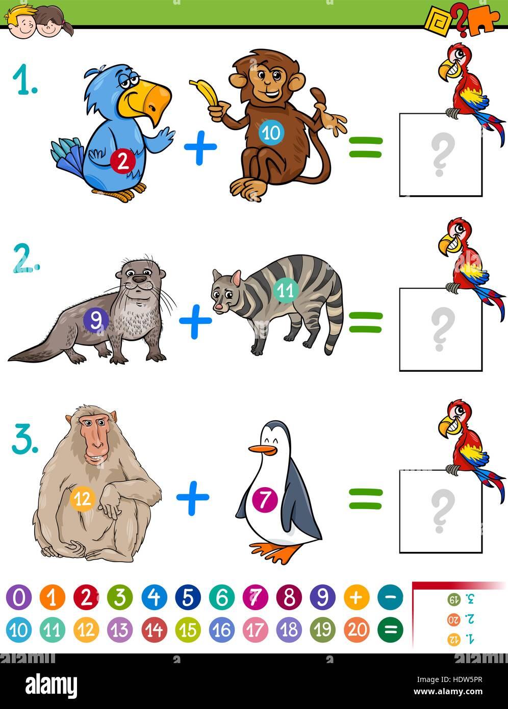 Cartoon Illustration der pädagogischen mathematische Ergänzung ...