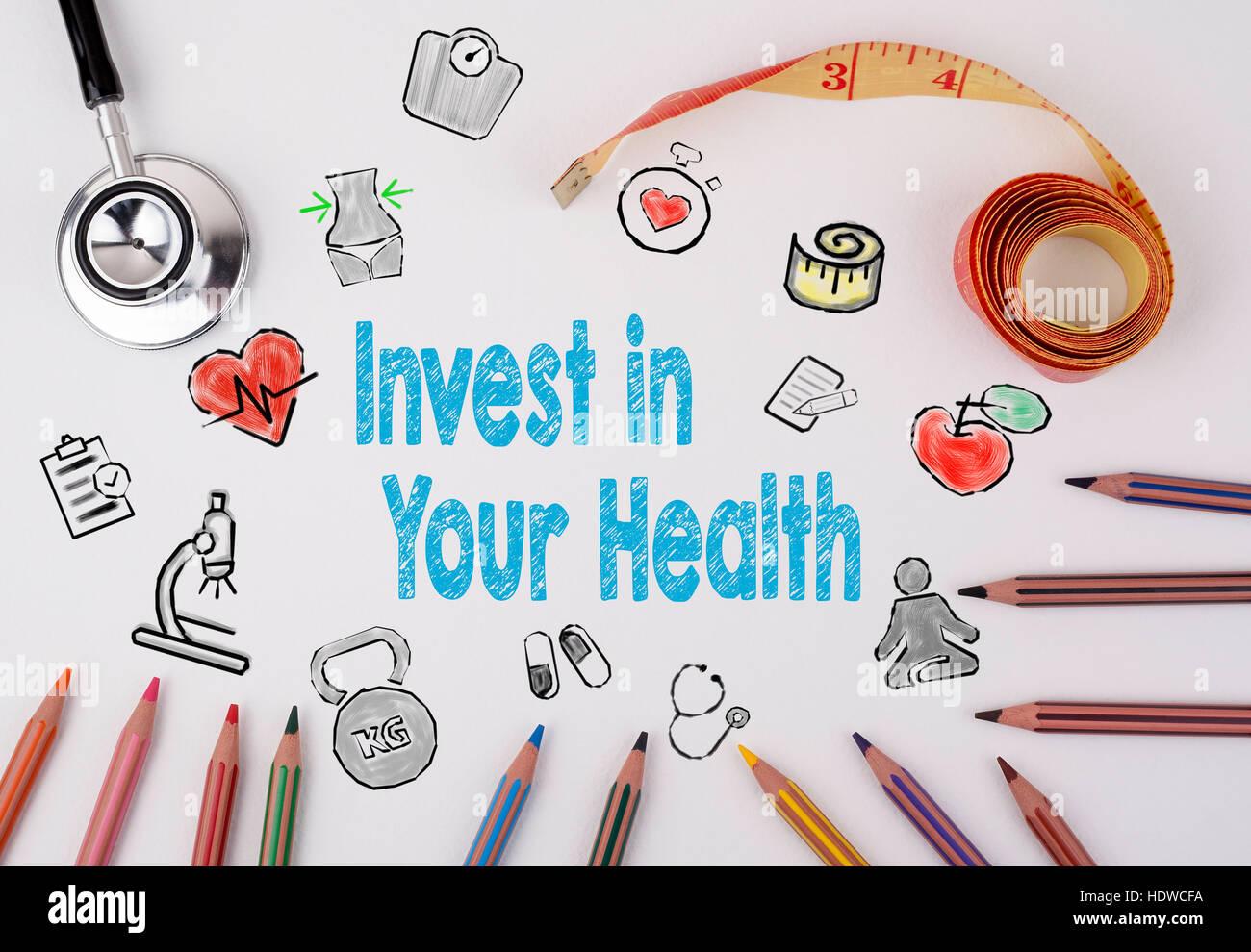 Investieren Sie in Ihre Gesundheitskonzept. Gesunde Lebensweise Hintergrund. Stockbild