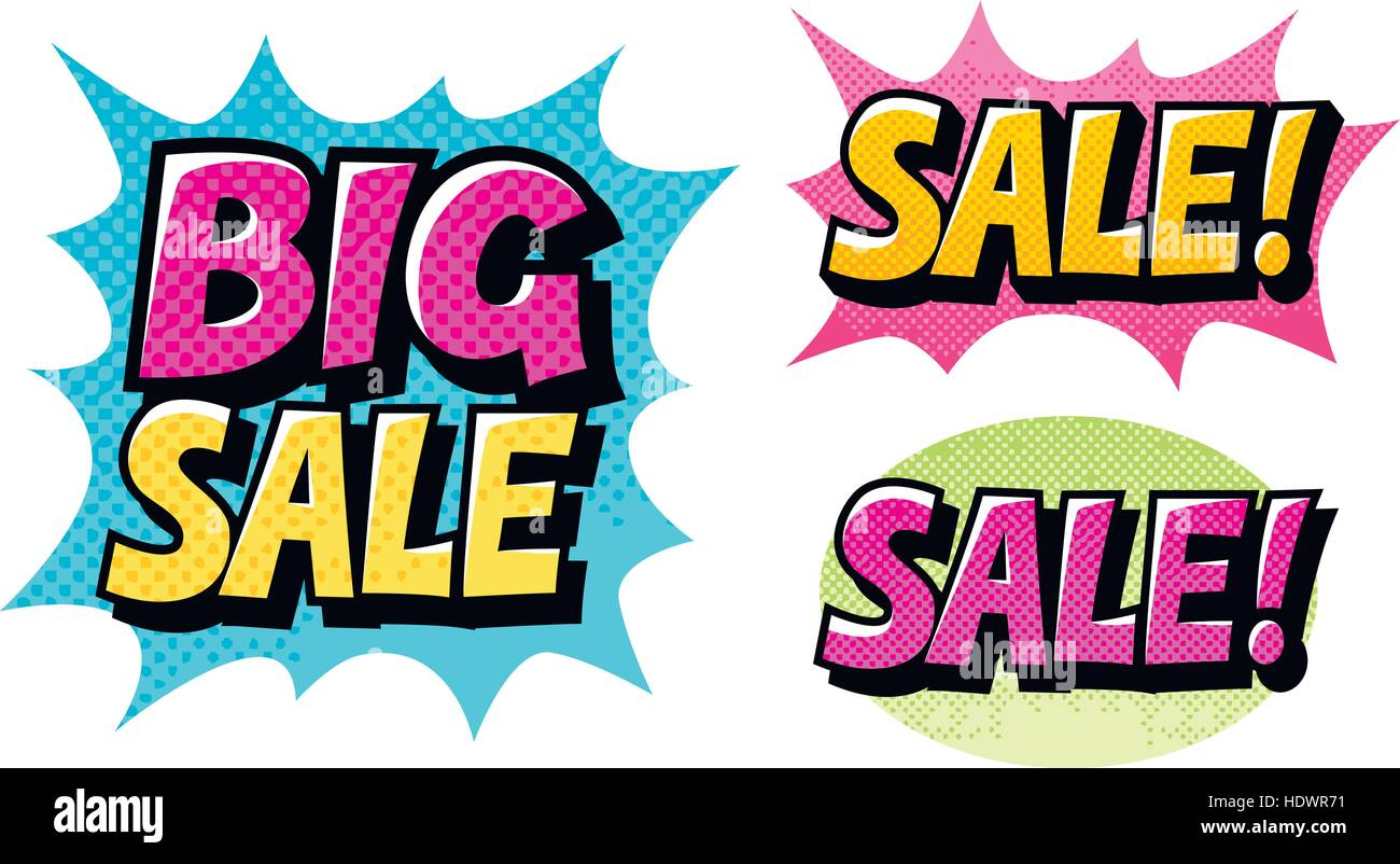 Big Sale stellen Icons. Comic-Text Pop-Art Stil Vektor Stockbild