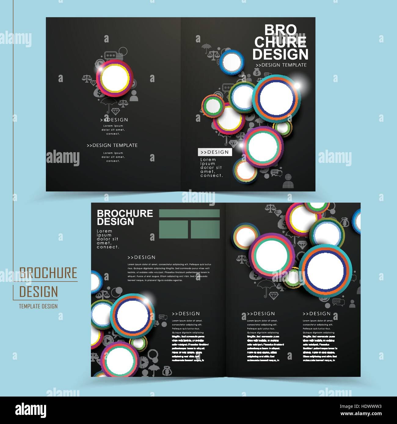 moderne gefaltet Broschüre Vorlage design in schwarz mit Kreis ...