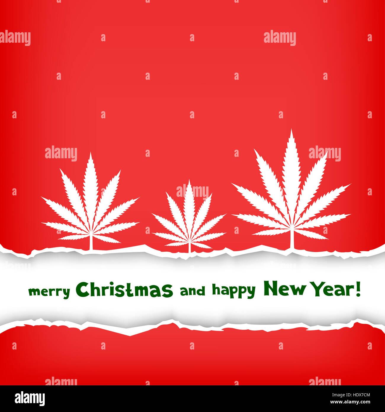 Weihnachten Gratulation zerrissen rotes Papier und Rahmen mit der ...