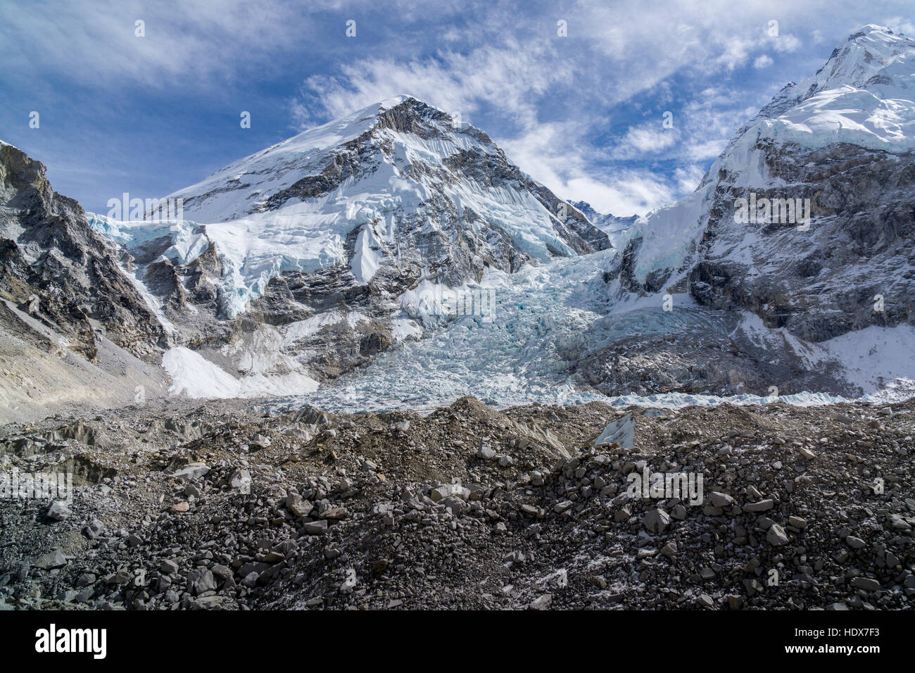 Blick über den Gletscher auf den kumbhu kumbhu Eisfall, der Berg khumbutse (6665 m) hinter sich Stockbild