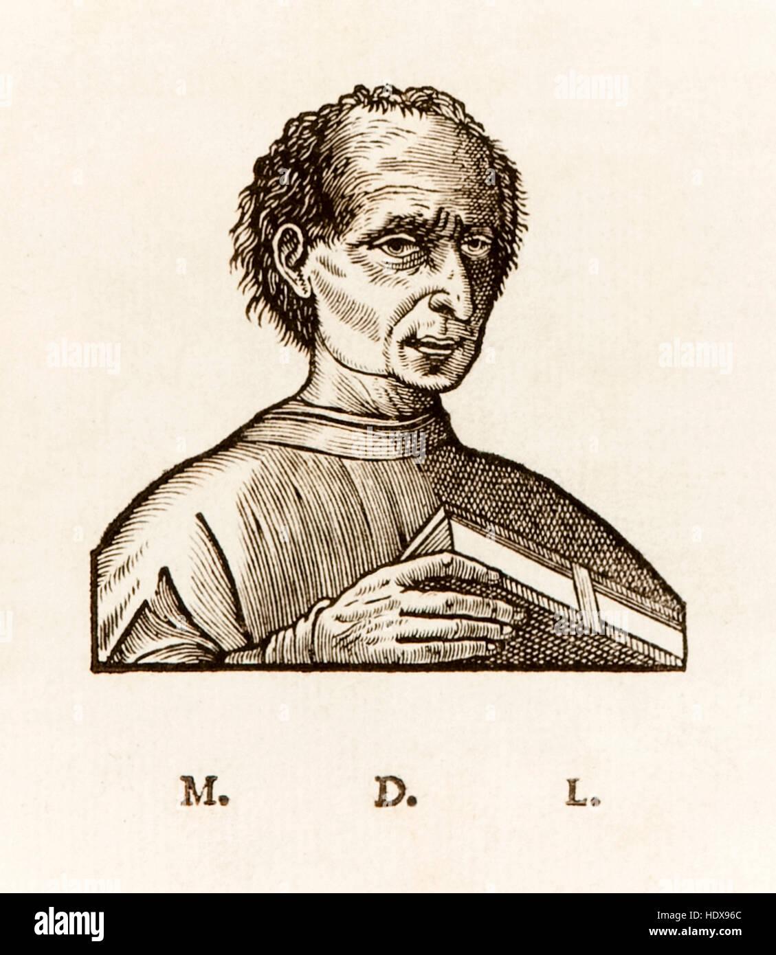 Niccolò Machiavelli (1469-1527) italienischen Renaissance politischer Schriftsteller, Holzschnitt-Porträt Stockbild