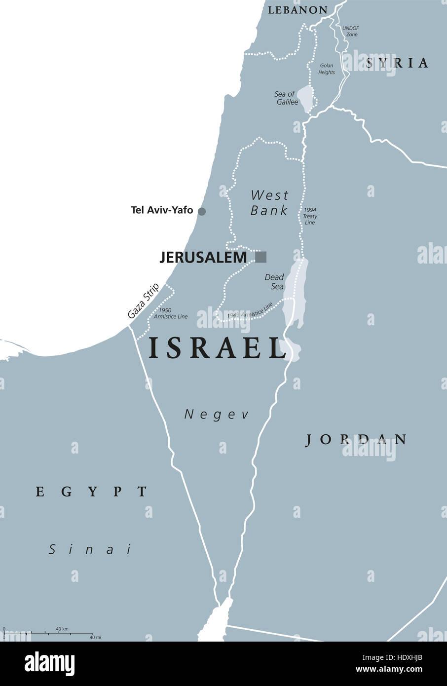 Israel Jerusalem Karte.Israels Politische Karte Mit Hauptstadt Jerusalem Und