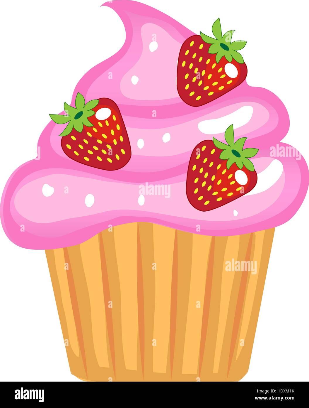 Süße Cupcakes Flache Cartoon Stil Kuchen Mit Sahne Und Erdbeeren