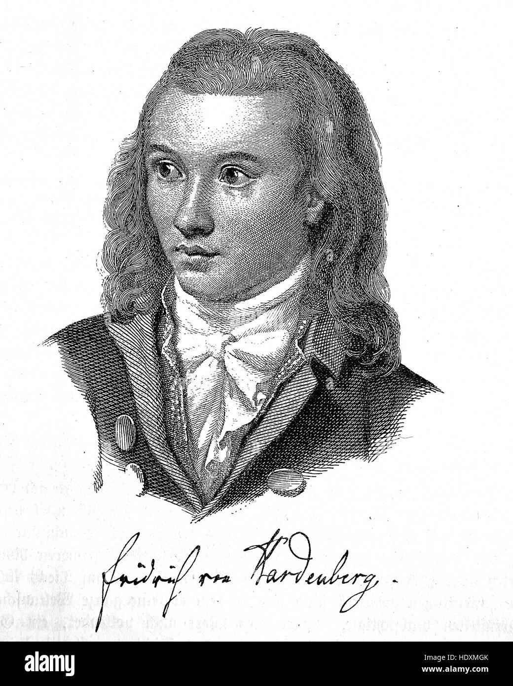 Novalis war das Pseudonym und Pseudonym von Georg Philipp Friedrich Freiherr von Hardenberg, 1772-1801, ein Dichter, Stockbild
