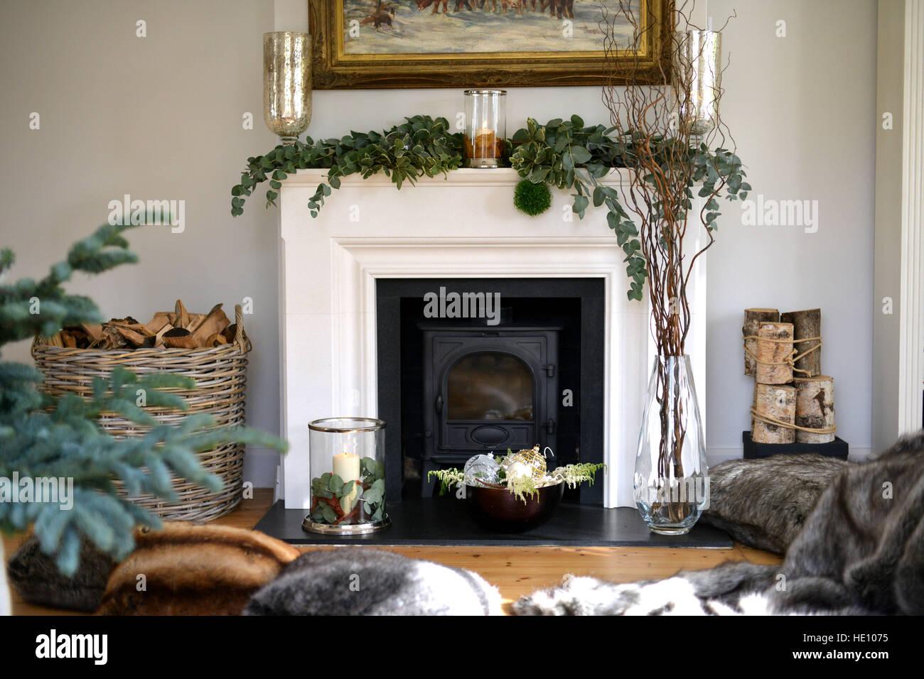 Kamin Dekoriert Für Weihnachten
